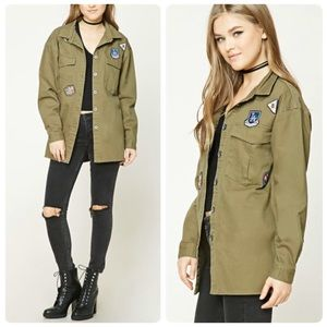 FOREVER 21 Army Patch midi Jacket | Sz S